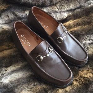 Gucci Brown Leather Horsebit Loafer Sz 10